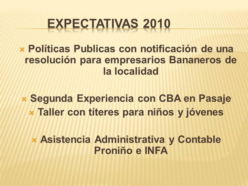 Expectativas 2010 Políticas Publicas con notificación de una resolución para empresarios Bananeros de la localidad.