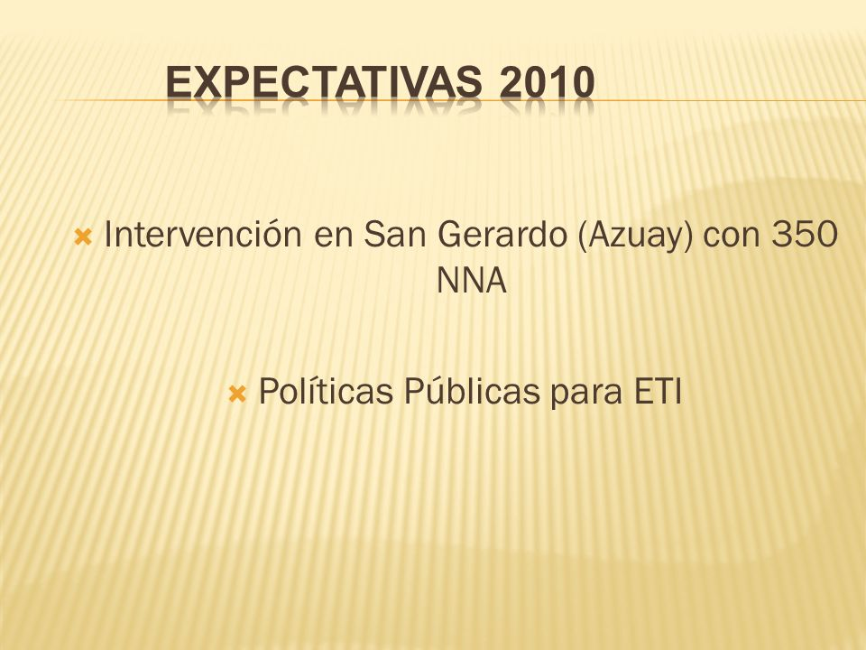 Expectativas 2010 Intervención en San Gerardo (Azuay) con 350 NNA