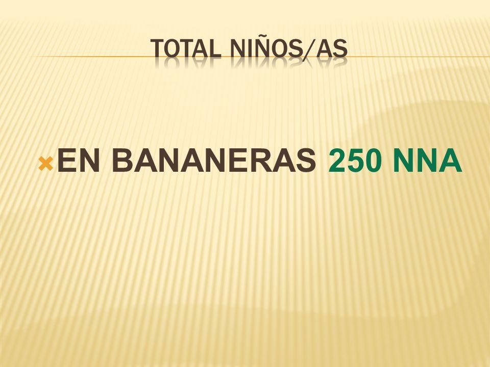 TOTAL NIÑOS/AS EN BANANERAS 250 NNA