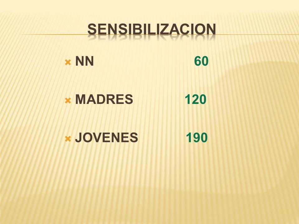 SENSIBILIZACION NN 60 MADRES 120 JOVENES 190