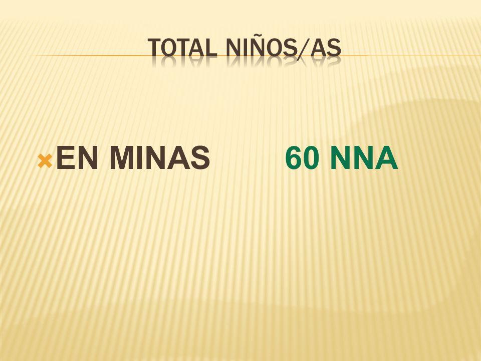 TOTAL NIÑOS/AS EN MINAS 60 NNA