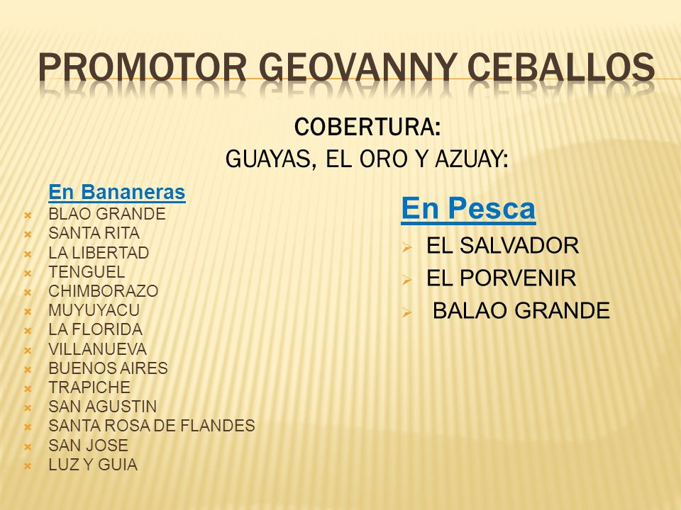 PROMOTOR geovanny Ceballos