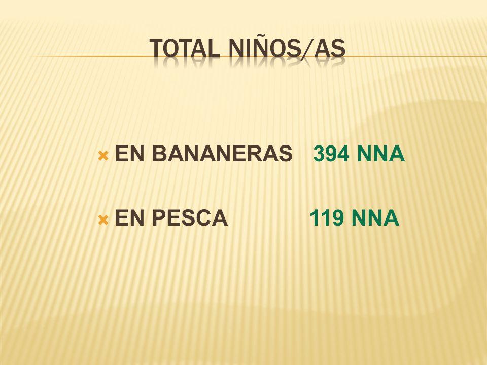 TOTAL NIÑOS/AS EN BANANERAS 394 NNA EN PESCA 119 NNA