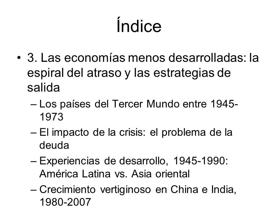 Índice 3. Las economías menos desarrolladas: la espiral del atraso y las estrategias de salida. Los países del Tercer Mundo entre 1945-1973.