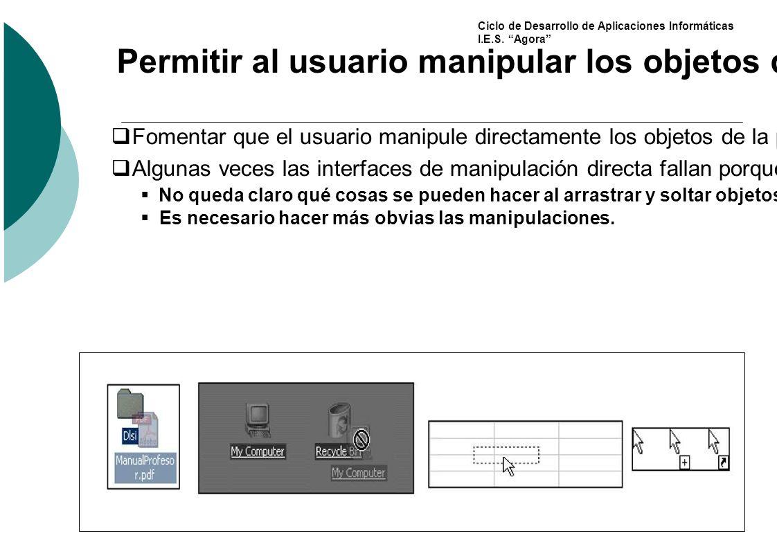 Permitir al usuario manipular los objetos de la interfaz