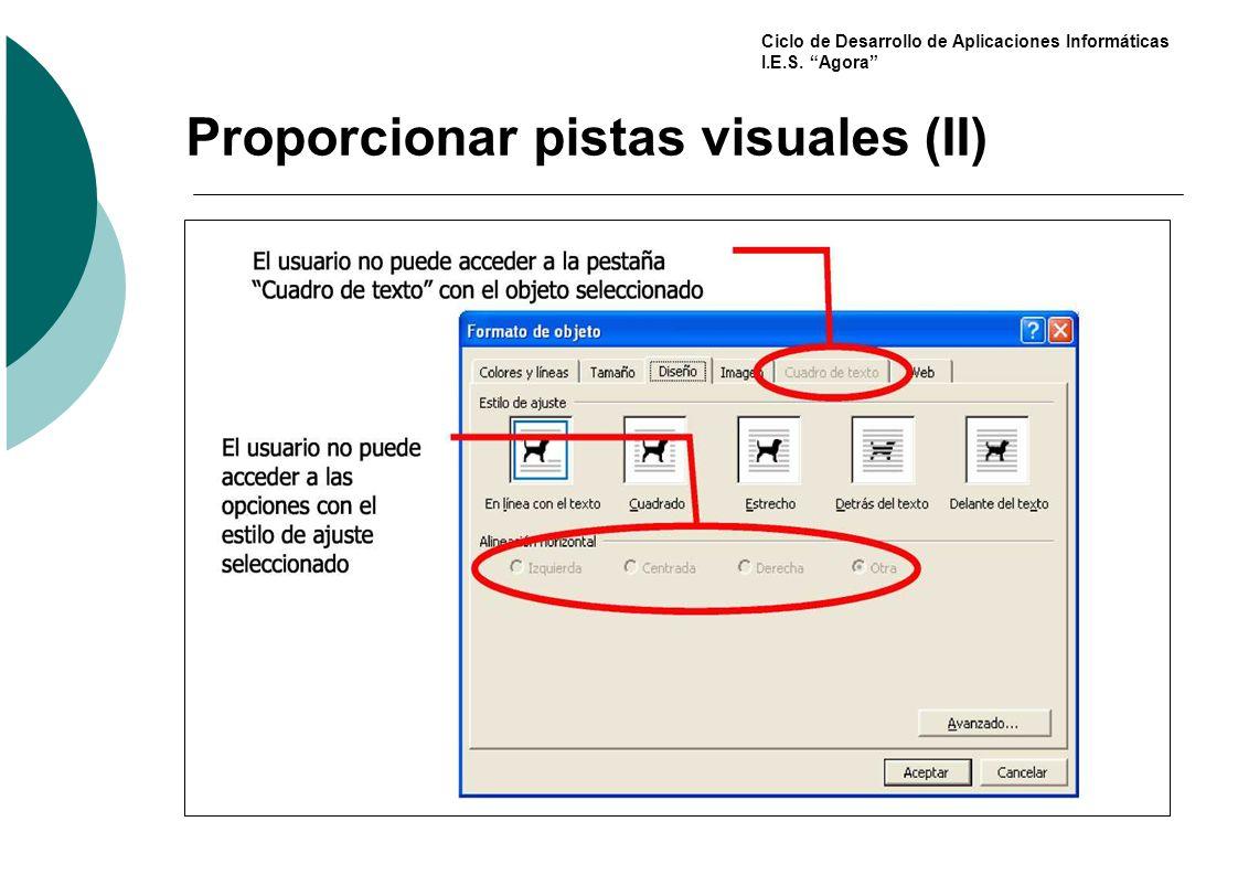 Proporcionar pistas visuales (II)
