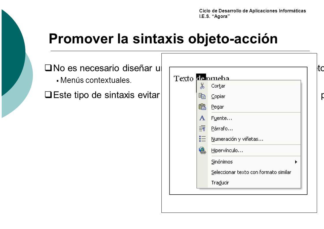 Promover la sintaxis objeto-acción