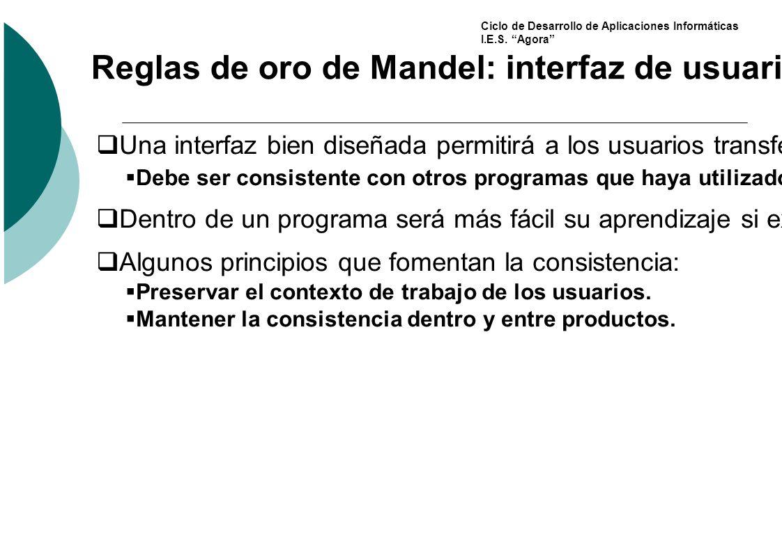 Reglas de oro de Mandel: interfaz de usuario consistente