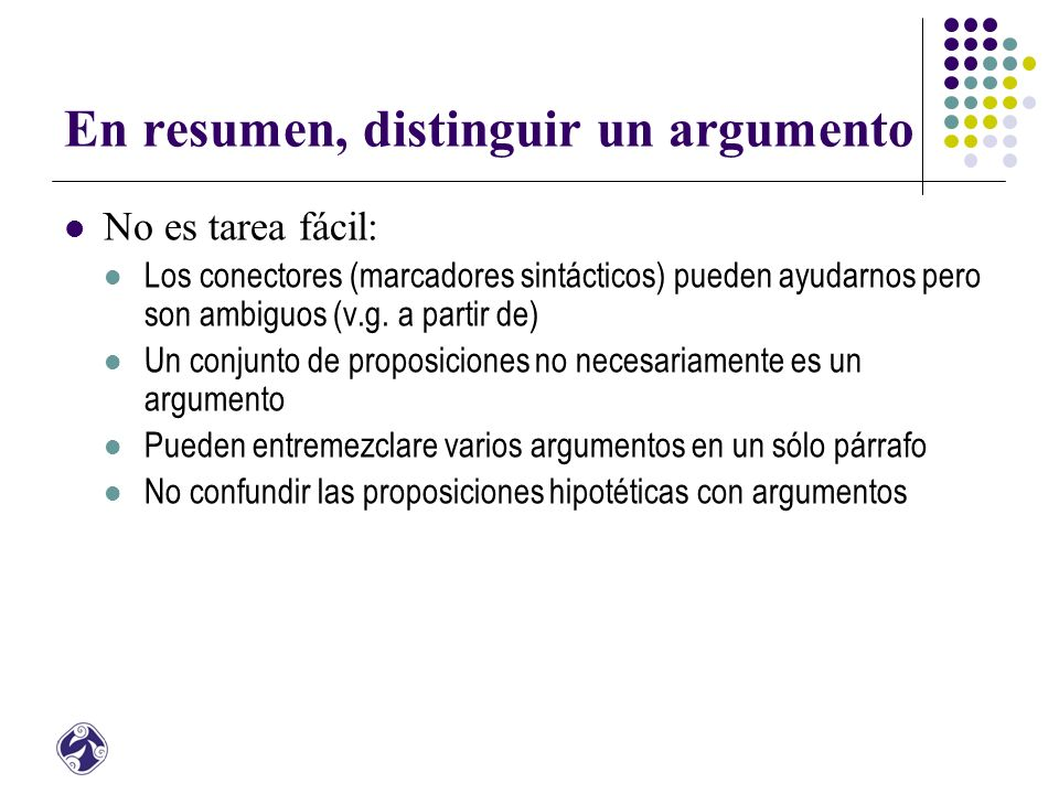 En resumen, distinguir un argumento