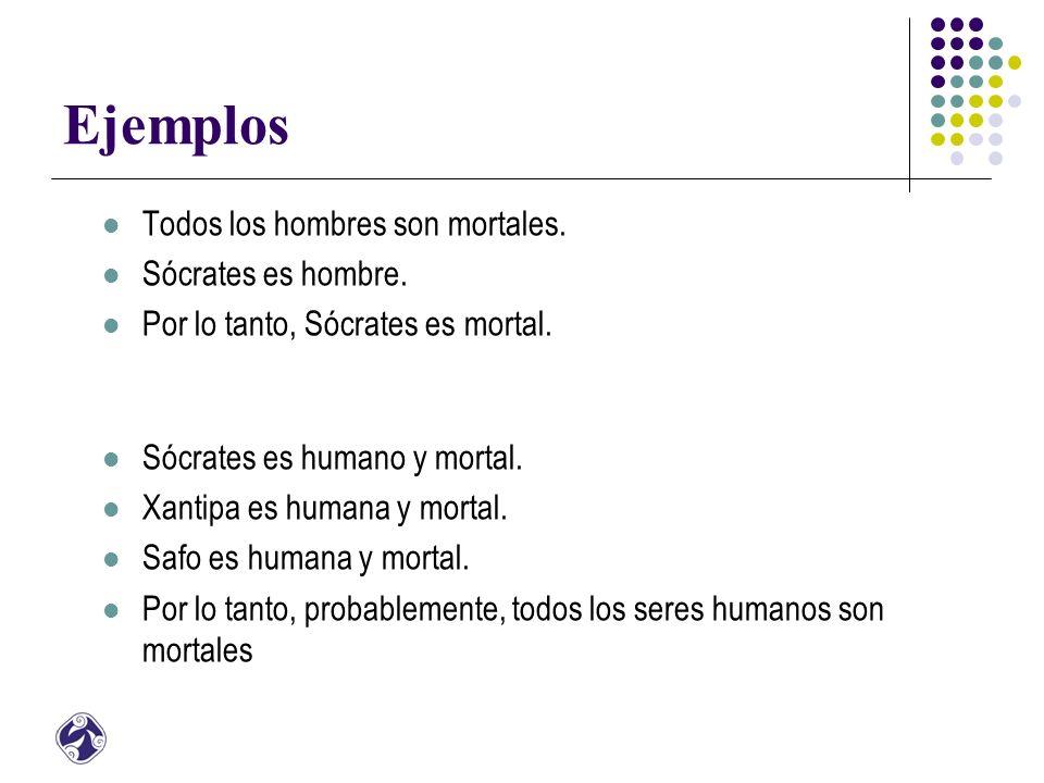 Ejemplos Todos los hombres son mortales. Sócrates es hombre.