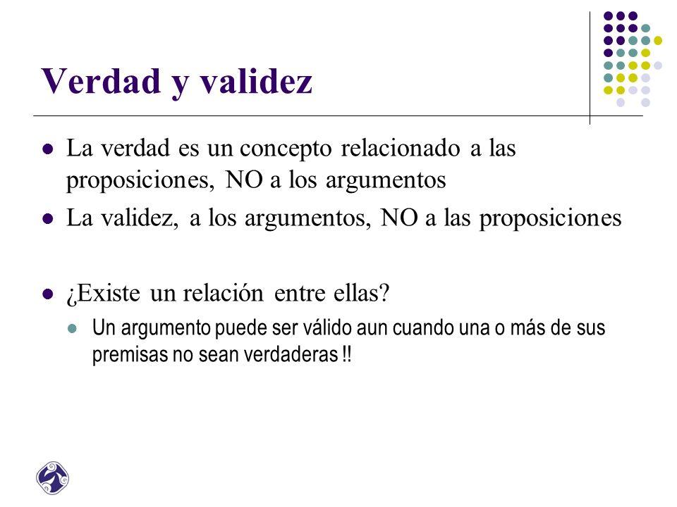 Verdad y validez La verdad es un concepto relacionado a las proposiciones, NO a los argumentos. La validez, a los argumentos, NO a las proposiciones.