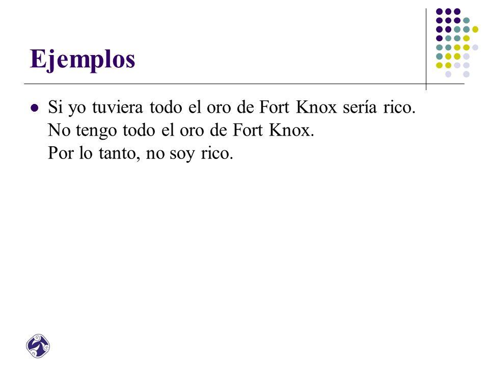 Ejemplos Si yo tuviera todo el oro de Fort Knox sería rico.