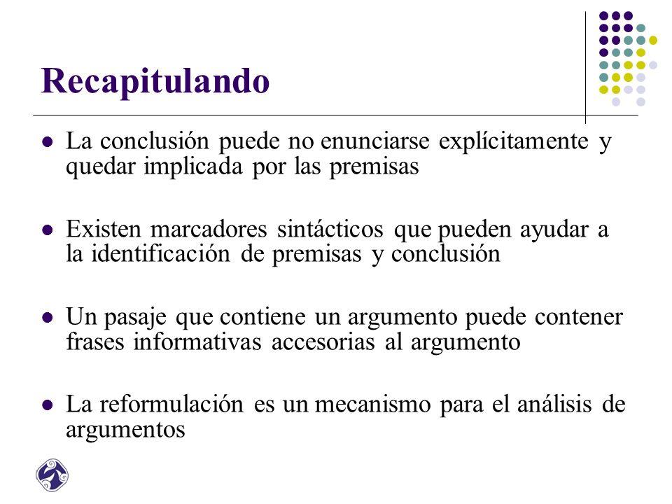 Recapitulando La conclusión puede no enunciarse explícitamente y quedar implicada por las premisas.
