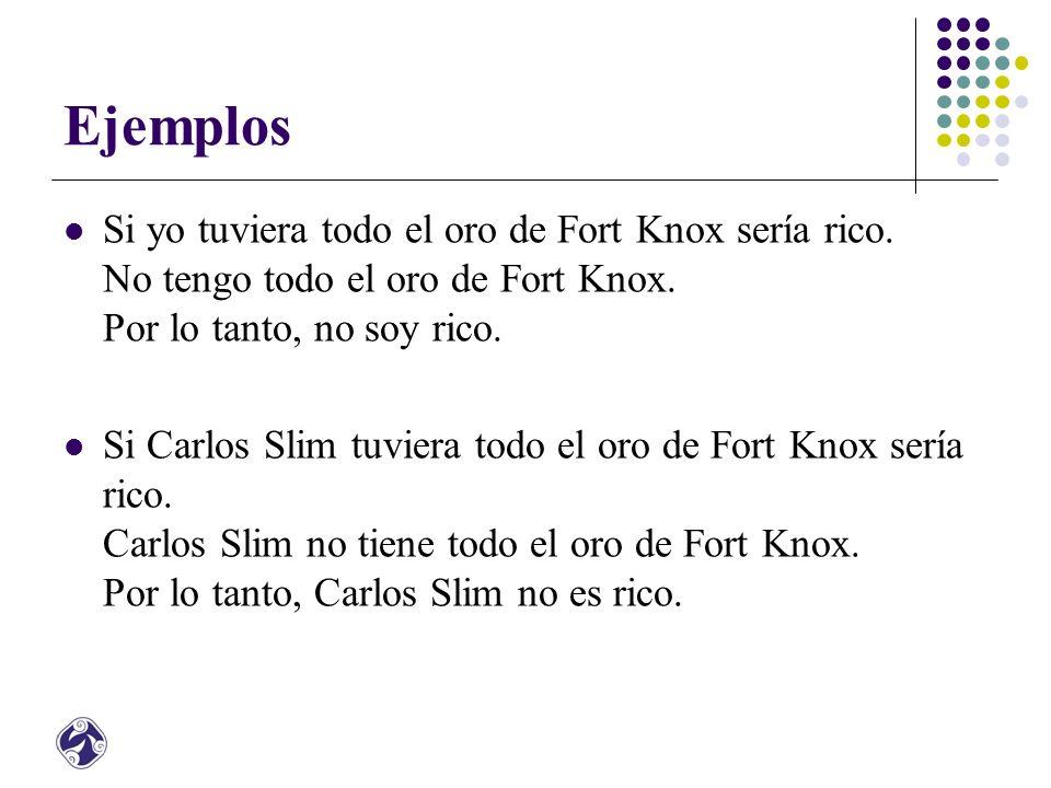 Ejemplos Si yo tuviera todo el oro de Fort Knox sería rico. No tengo todo el oro de Fort Knox. Por lo tanto, no soy rico.