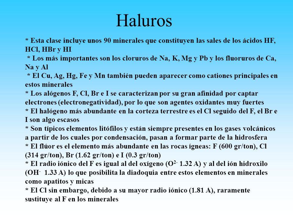 Haluros * Esta clase incluye unos 90 minerales que constituyen las sales de los ácidos HF, HCl, HBr y HI.