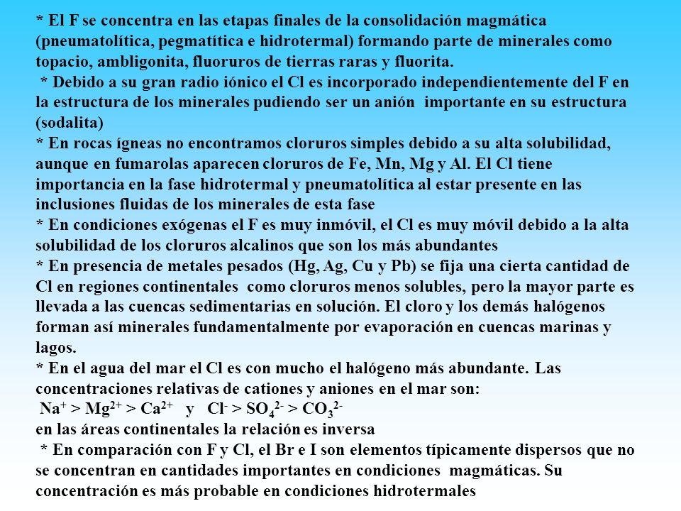 * El F se concentra en las etapas finales de la consolidación magmática (pneumatolítica, pegmatítica e hidrotermal) formando parte de minerales como topacio, ambligonita, fluoruros de tierras raras y fluorita.