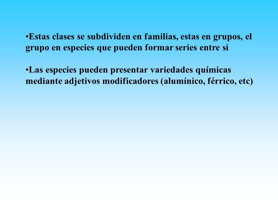Estas clases se subdividen en familias, estas en grupos, el