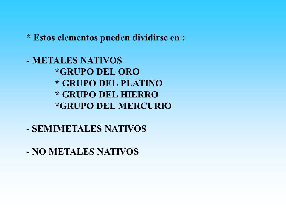 * Estos elementos pueden dividirse en :