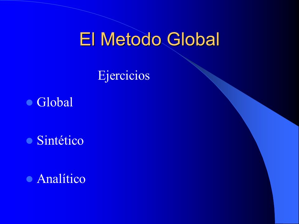 El Metodo Global Ejercicios Global Sintético Analítico