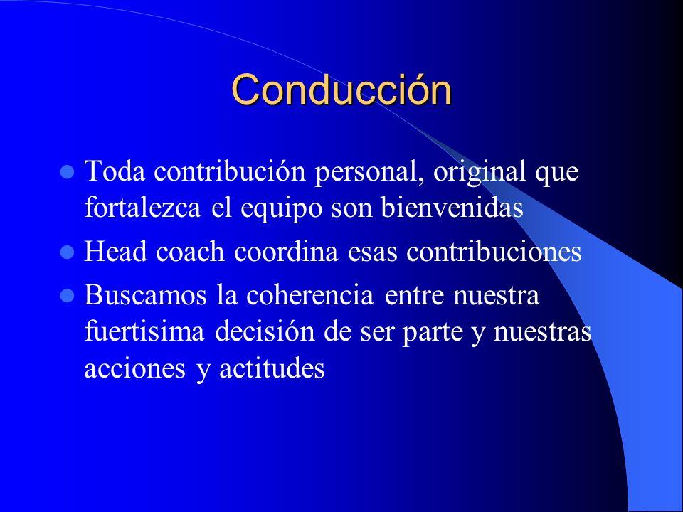 ConducciónToda contribución personal, original que fortalezca el equipo son bienvenidas. Head coach coordina esas contribuciones.