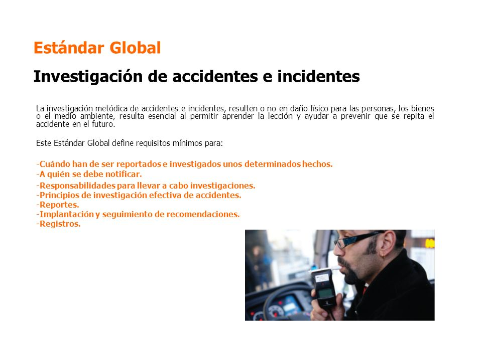 Estándar Global Investigación de accidentes e incidentes