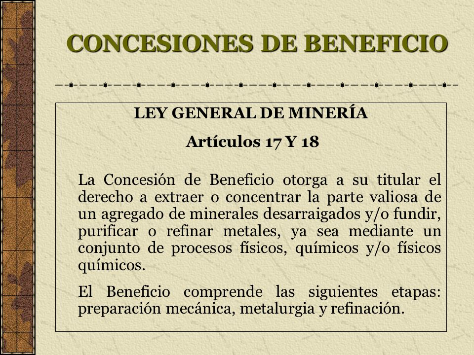 CONCESIONES DE BENEFICIO