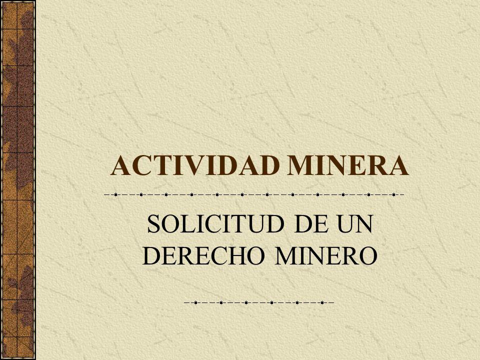 SOLICITUD DE UN DERECHO MINERO
