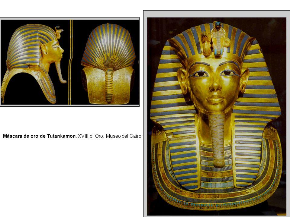 Máscara de oro de Tutankamon. XVIII d. Oro. Museo del Cairo.