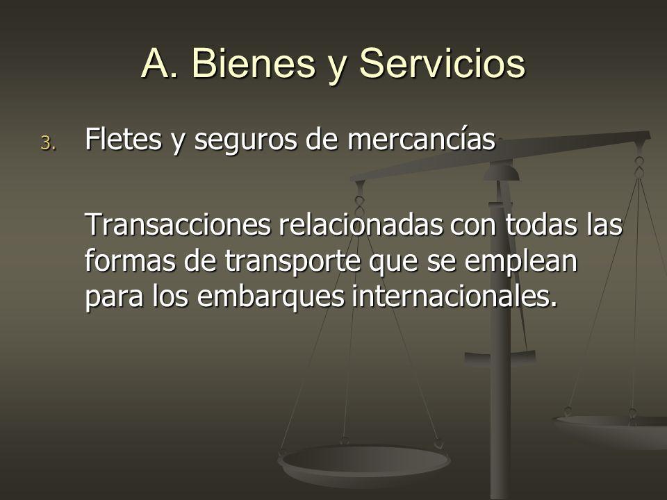 A. Bienes y Servicios Fletes y seguros de mercancías