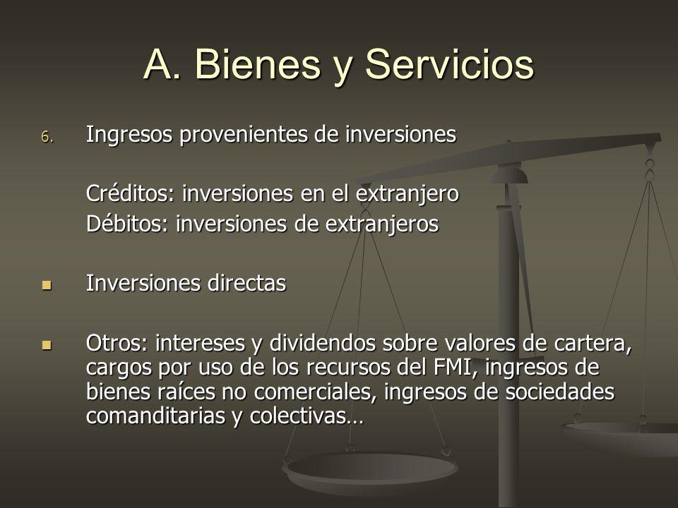 A. Bienes y Servicios Ingresos provenientes de inversiones