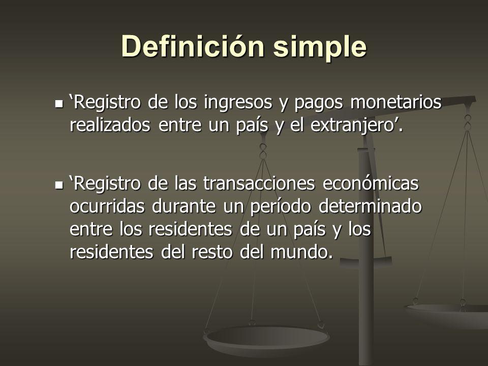 Definición simple 'Registro de los ingresos y pagos monetarios realizados entre un país y el extranjero'.