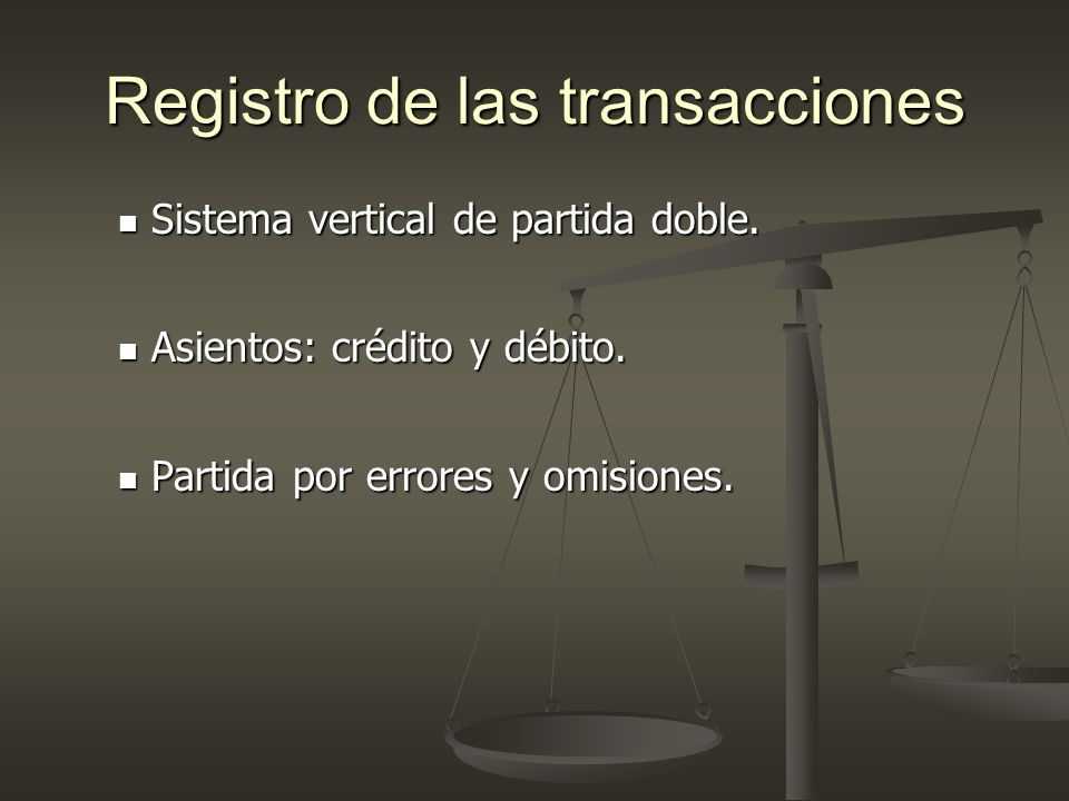 Registro de las transacciones