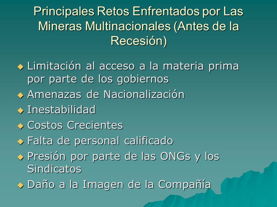 Principales Retos Enfrentados por Las Mineras Multinacionales (Antes de la Recesión)