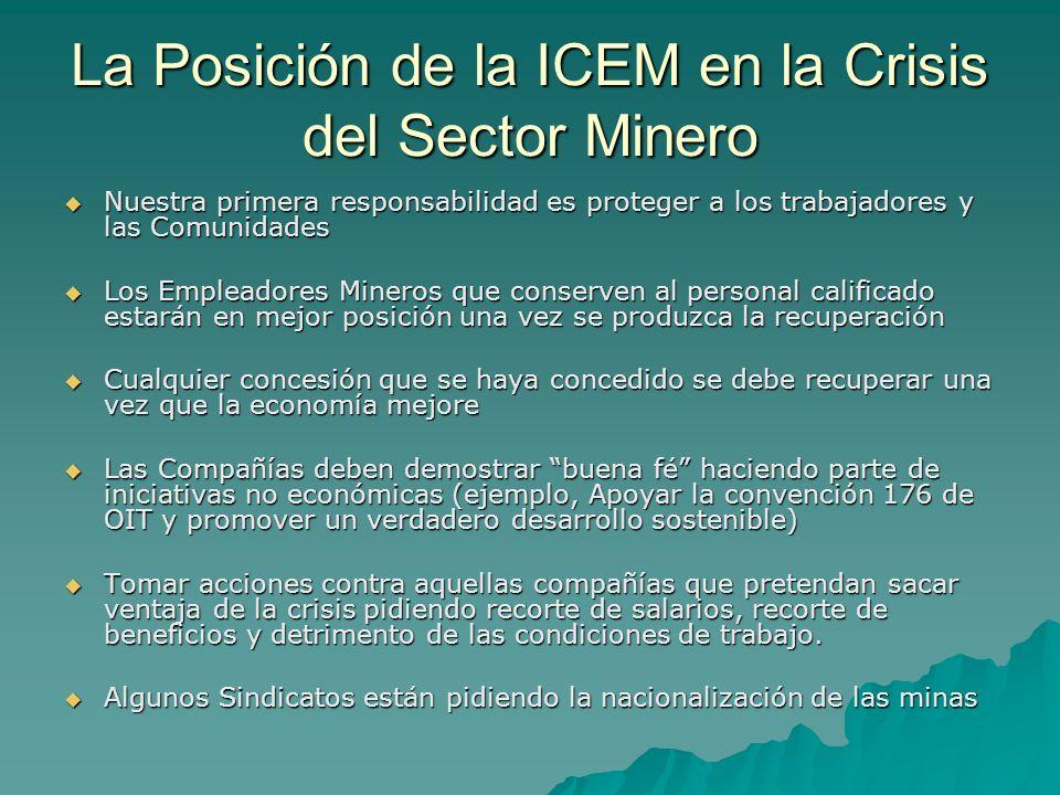 La Posición de la ICEM en la Crisis del Sector Minero