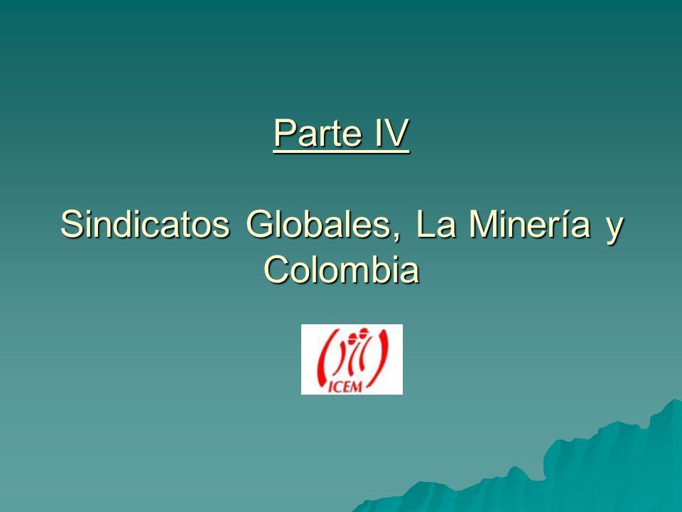 Parte IV Sindicatos Globales, La Minería y Colombia