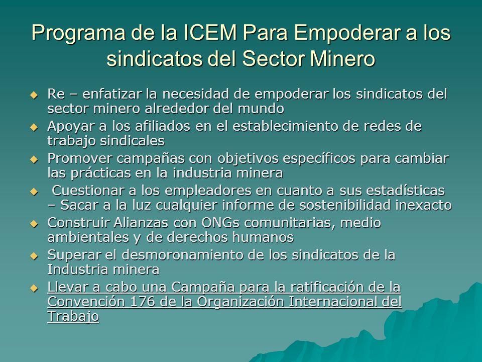 Programa de la ICEM Para Empoderar a los sindicatos del Sector Minero