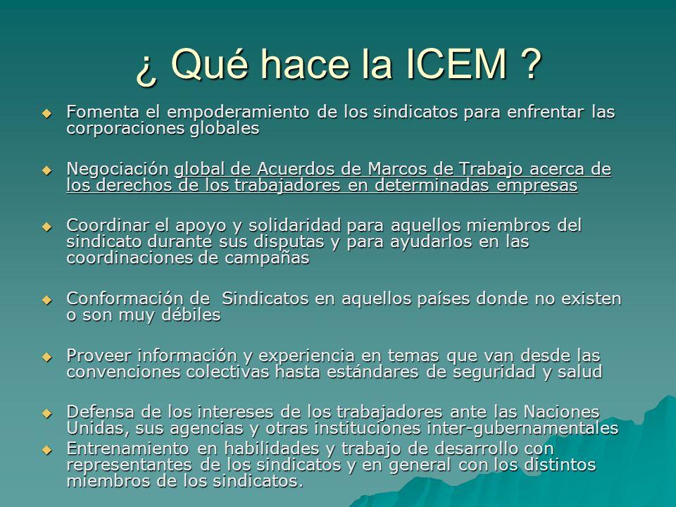 ¿ Qué hace la ICEM Fomenta el empoderamiento de los sindicatos para enfrentar las corporaciones globales.