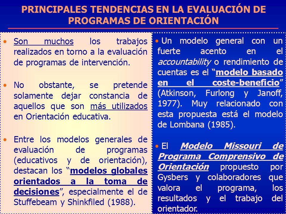 PRINCIPALES TENDENCIAS EN LA EVALUACIÓN DE PROGRAMAS DE ORIENTACIÓN