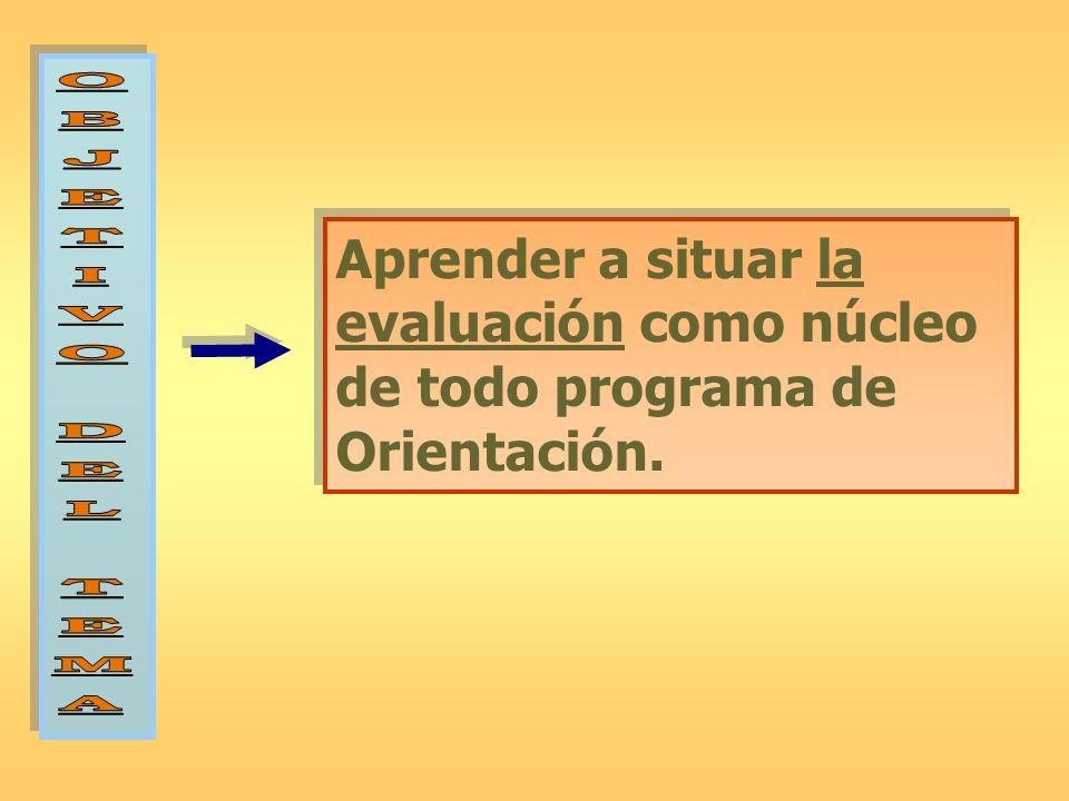 O B J E T I V D L M A Aprender a situar la evaluación como núcleo de todo programa de Orientación.