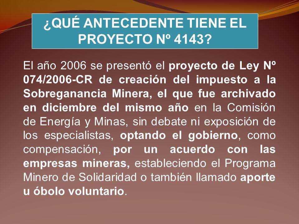 ¿QUÉ ANTECEDENTE TIENE EL PROYECTO Nº 4143