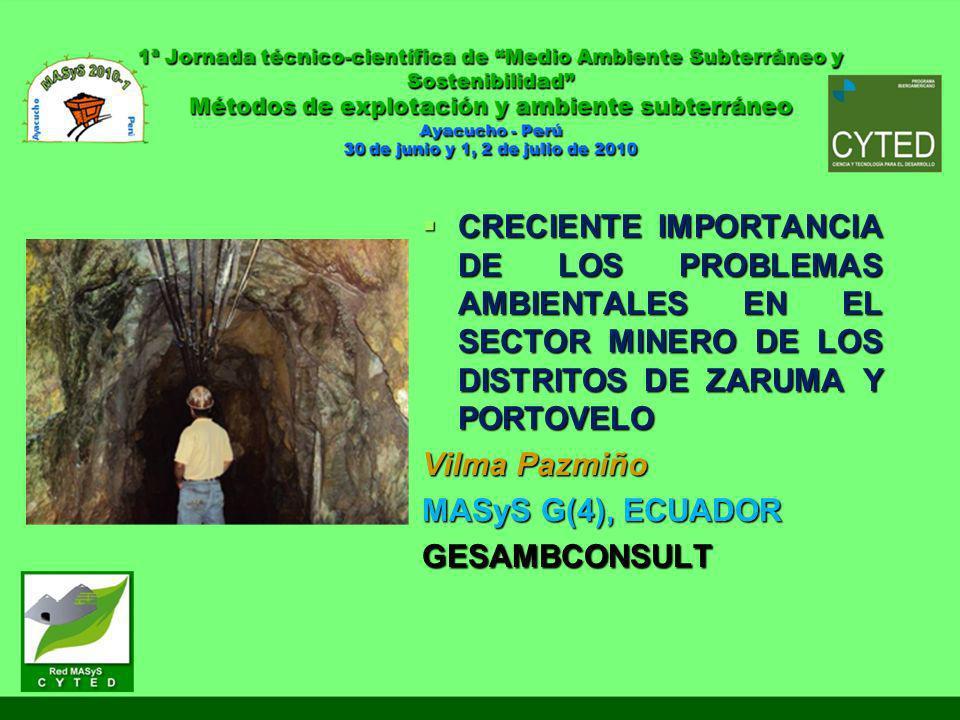 creciente importancia de los problemas ambientales en el sector minero de los distritos de Zaruma y Portovelo