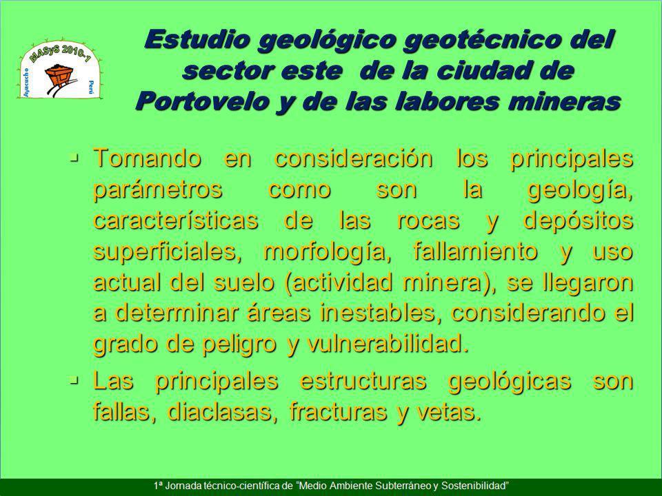 Estudio geológico geotécnico del sector este de la ciudad de Portovelo y de las labores mineras