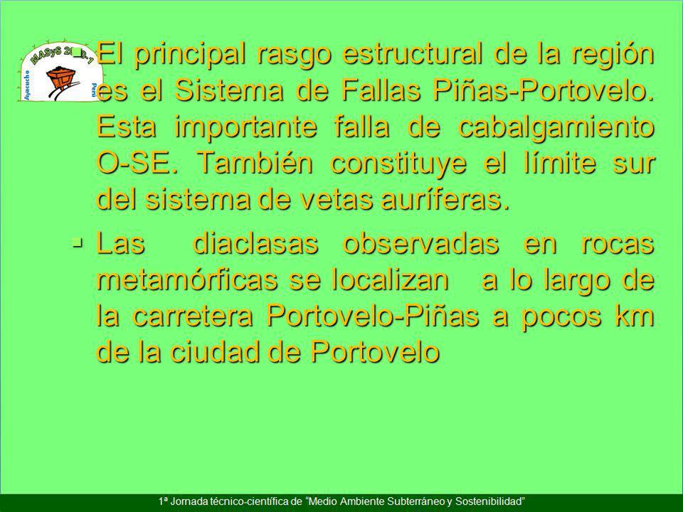 El principal rasgo estructural de la región es el Sistema de Fallas Piñas-Portovelo. Esta importante falla de cabalgamiento O-SE. También constituye el límite sur del sistema de vetas auríferas.