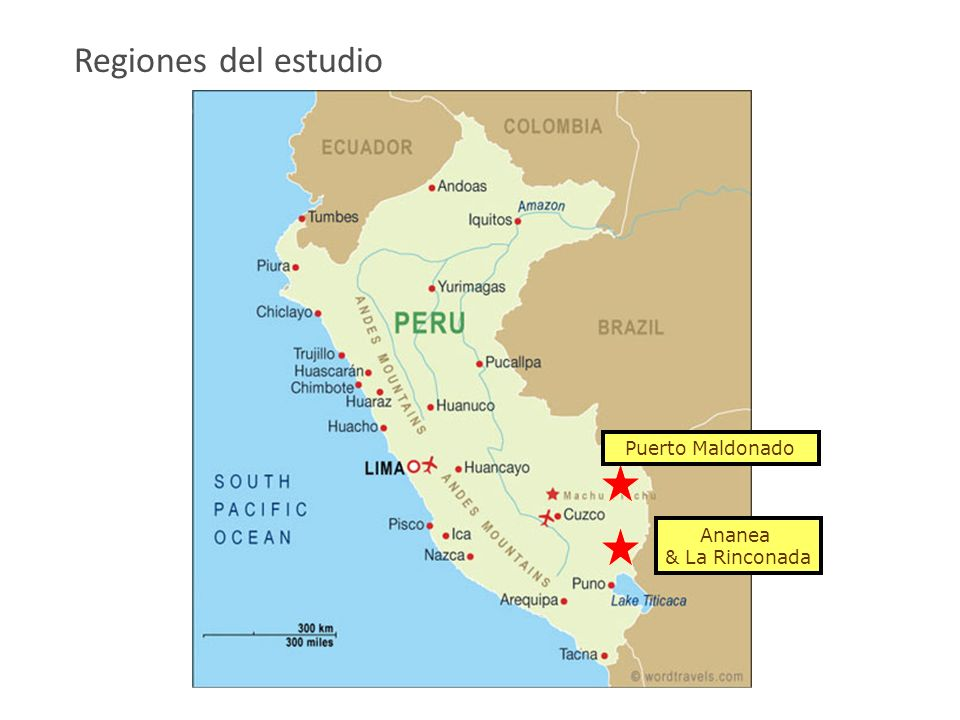 Regiones del estudio Puerto Maldonado Ananea & La Rinconada