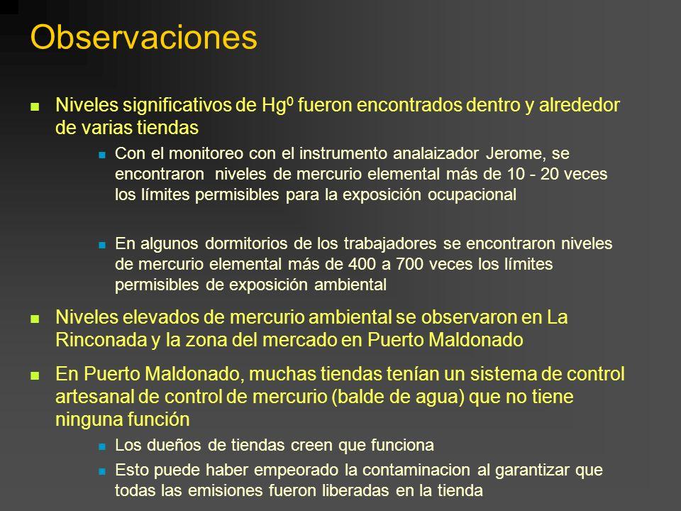 Observaciones Niveles significativos de Hg0 fueron encontrados dentro y alrededor de varias tiendas.