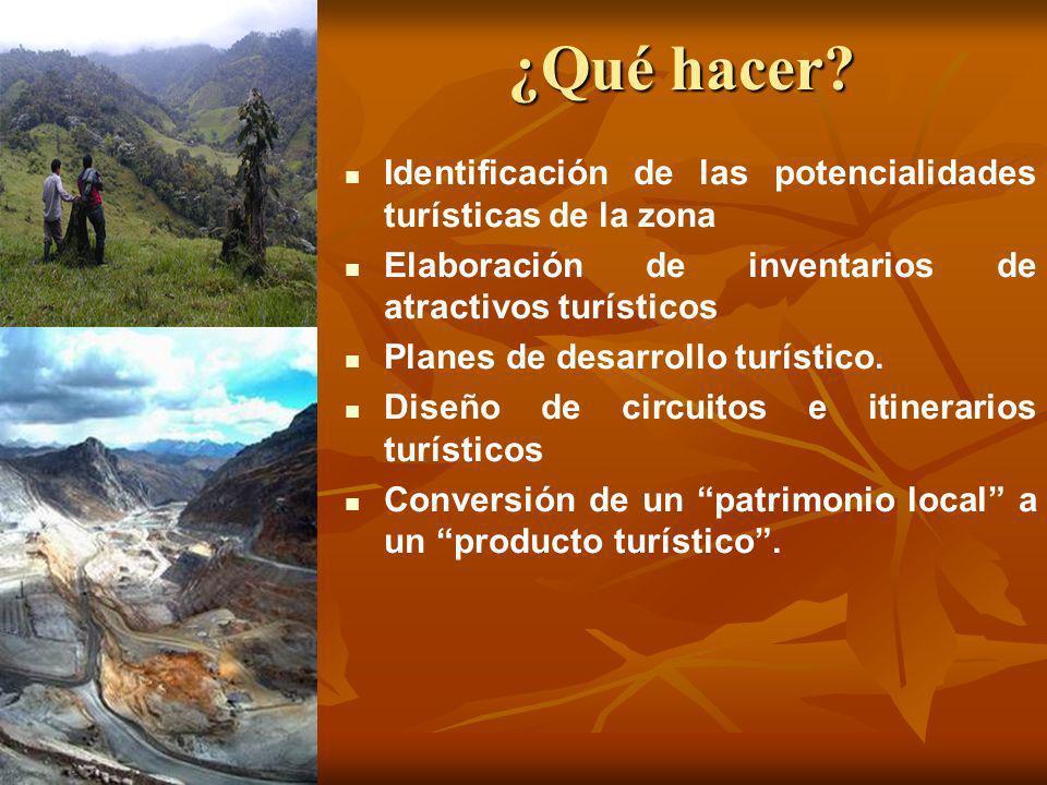 ¿Qué hacer Identificación de las potencialidades turísticas de la zona. Elaboración de inventarios de atractivos turísticos.
