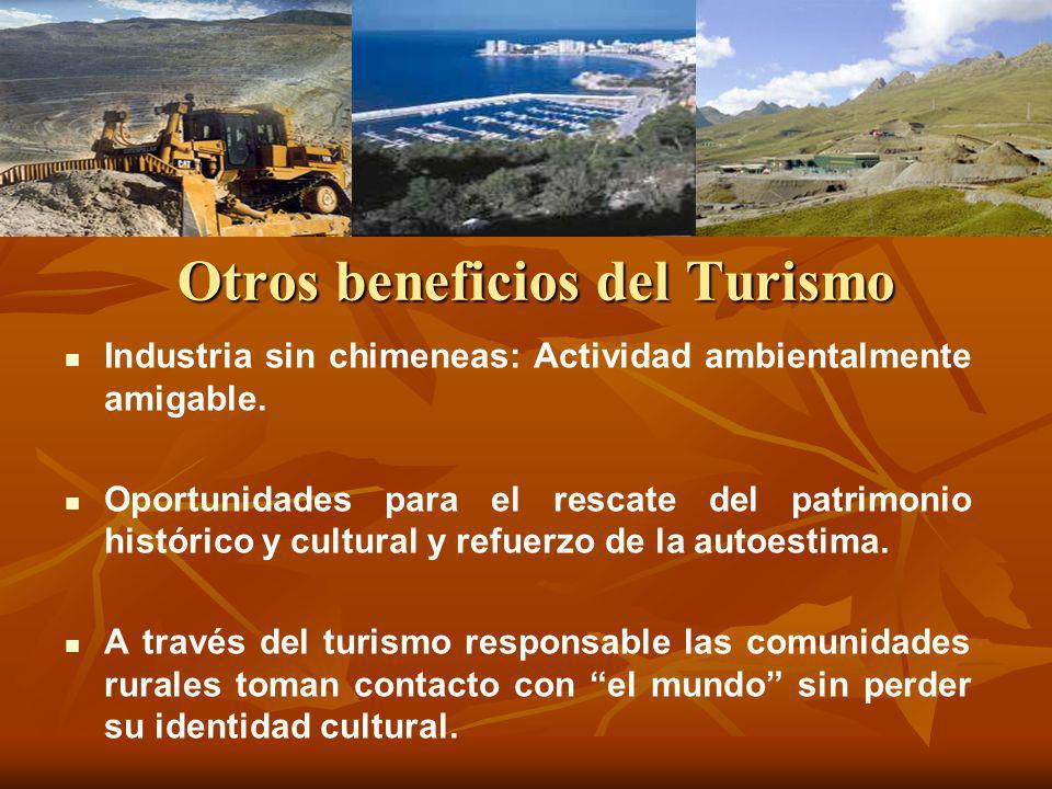 Otros beneficios del Turismo