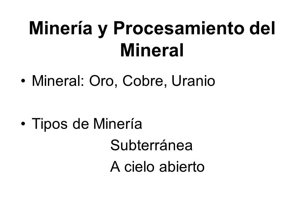 Minería y Procesamiento del Mineral