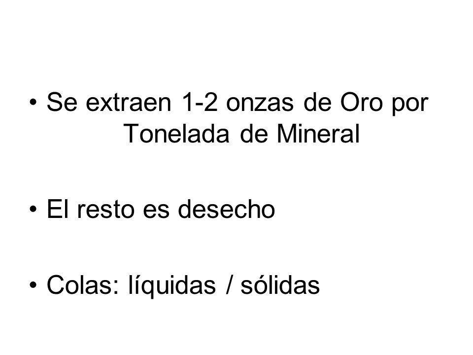 Se extraen 1-2 onzas de Oro por Tonelada de Mineral
