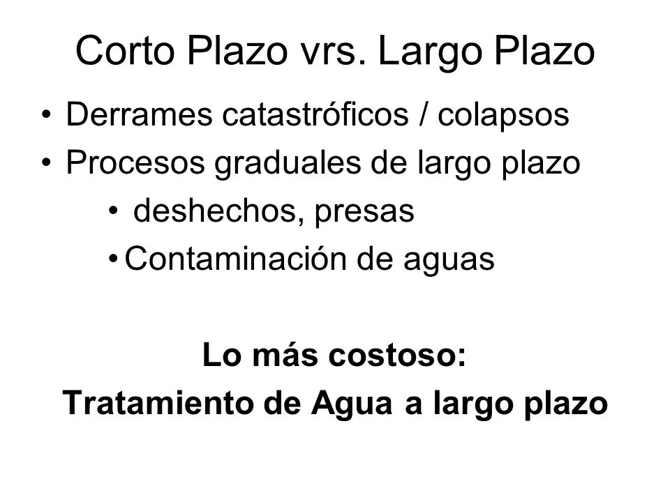 Corto Plazo vrs. Largo Plazo